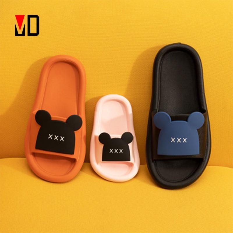 Mo Dou Summer Slippers Shoes Women New Cute Bear Open Toe Flat Flip Flops Men Parent Child Slippers for Kid Beach Slides Sandals