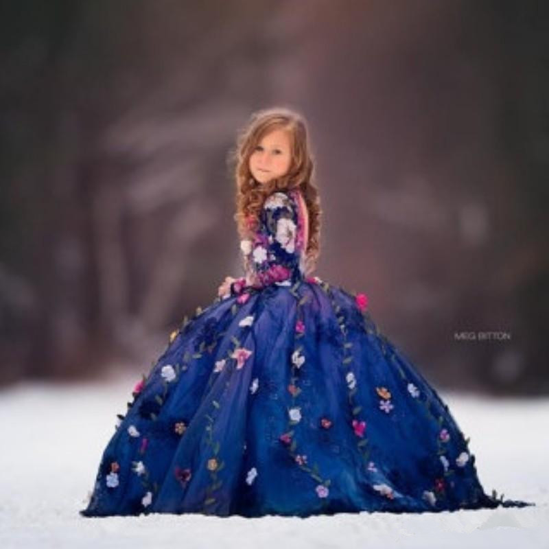 Fairty Meninas Flor bonita Vestido Gola Alta