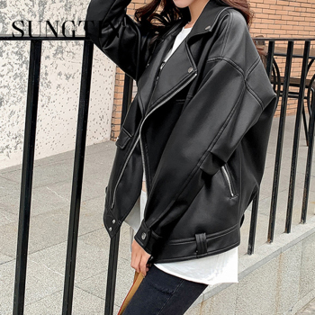 Sungtin Faux Leather Jacket Women Casual PU Loose Motorcycle Jackets Female Streetwear Oversized Coat Korean Chic New Spring