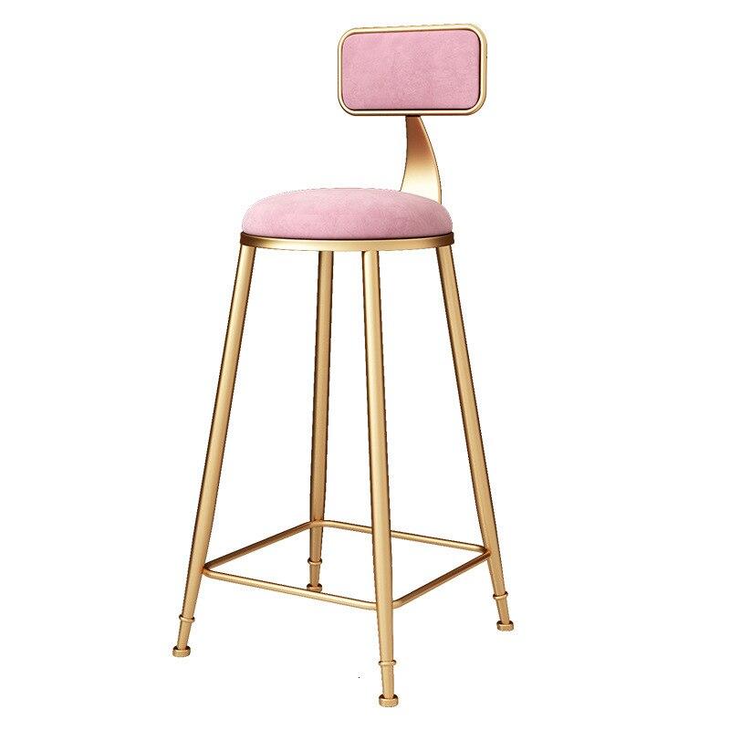 Nordic Iron Art Golden Bar Chair Simple Home Back Dining Chair High Stool Modern Coffee Bar Leisure Chair