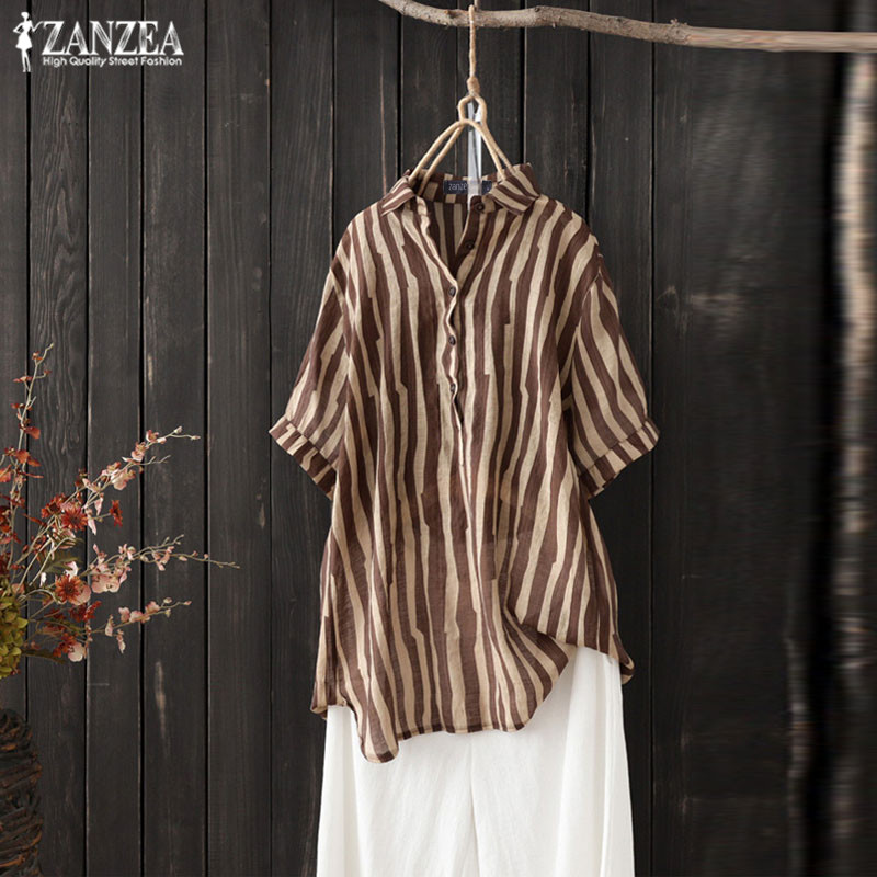 2019 ZANZEA Plus Size Tunic Shirts Women's Striped Blouse Vintage Summer Tops Button Chemise Female Short Sleeve Work Blusas