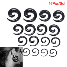 16Pcs/Set Acrylic Spiral Taper Flesh Tunnel Ear Stretcher Expander Stretching Plug Snail