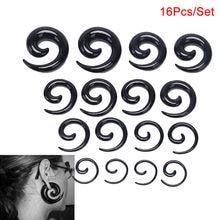 16 pçs/set fita acrílica espiral túnel da carne, expansor do estiramento da orelha, plug de estiramento, caracol