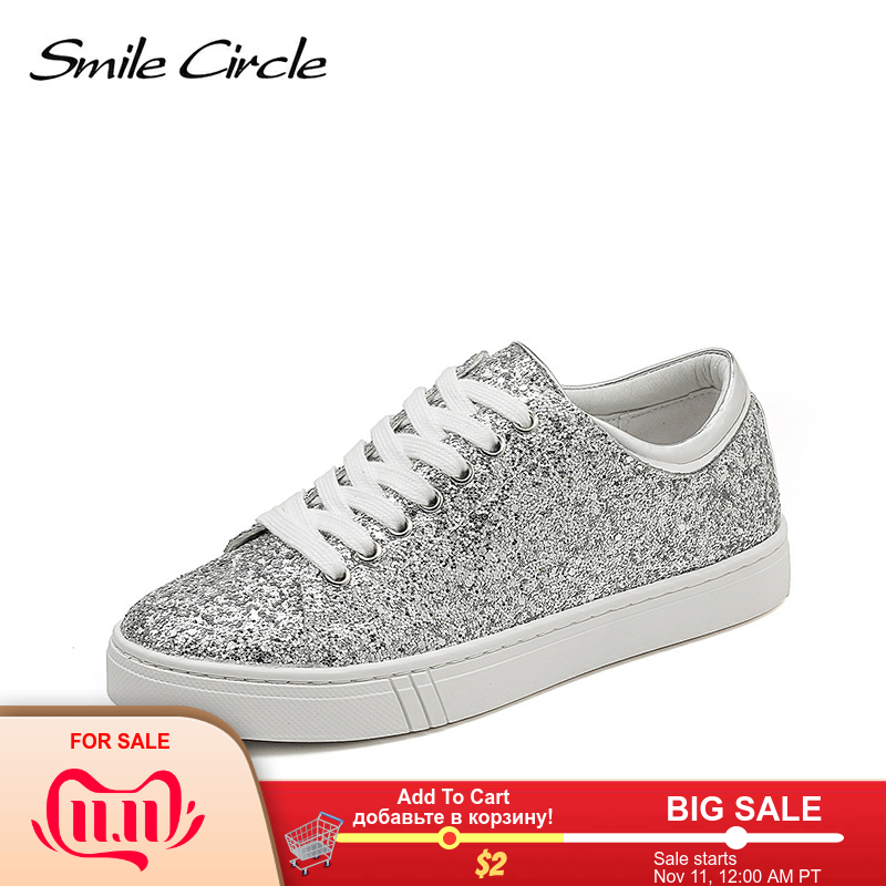 Smile Circle Sequin Sneakers Women Fashion Flat Casual Shoes Platform Sneakers Lace-up Shoes 2019 New Size 36-41