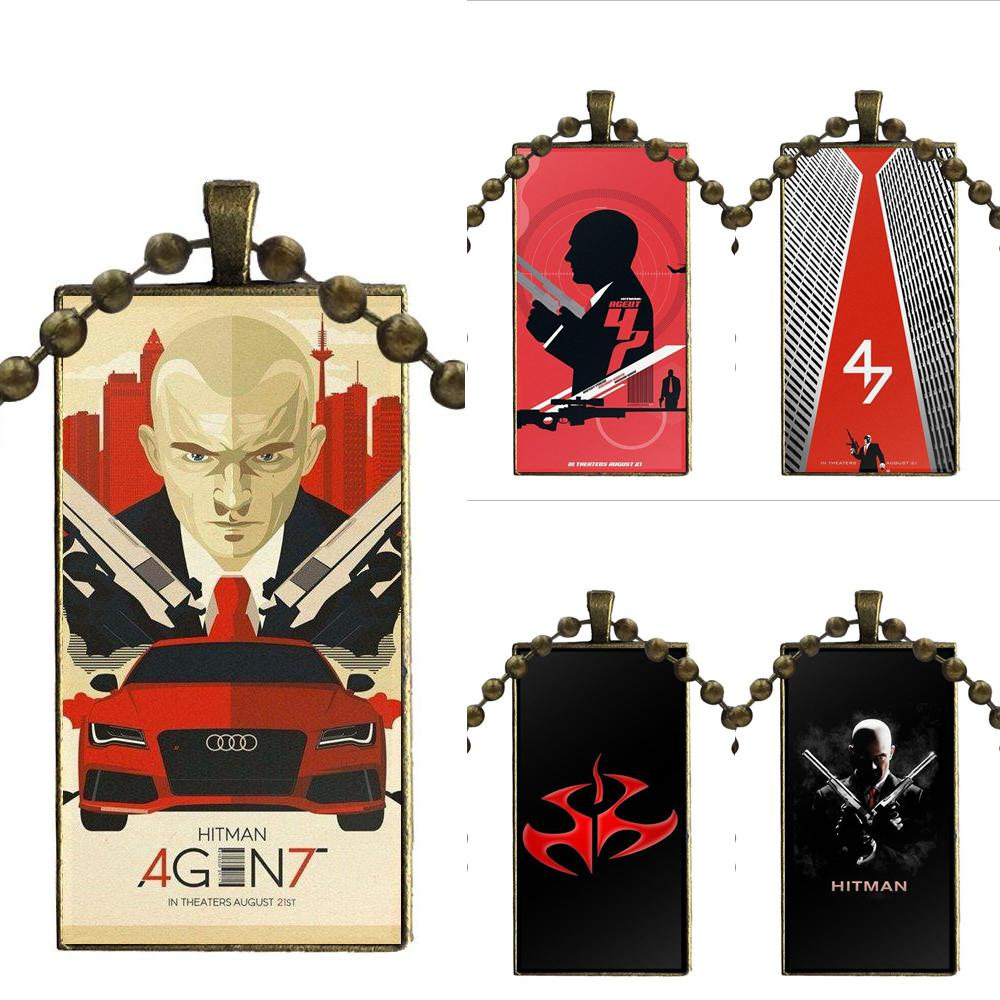 Movie Agent 47 Hitman Logo Poster For Women Girl Gift Glass Pendant Necklace Handmade Half Pendant Rectangle Necklace image