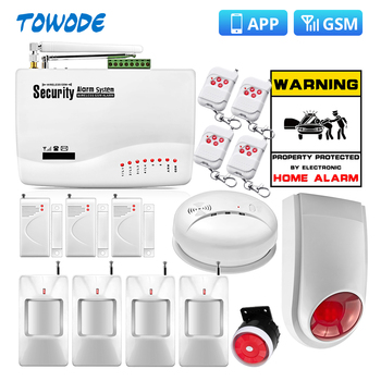 Towode 10A APP Control Wireless GSM Security alarm System home Protection 850/900/1800/1900MHz Spanish/Russian/English - discount item  45% OFF Security Alarm
