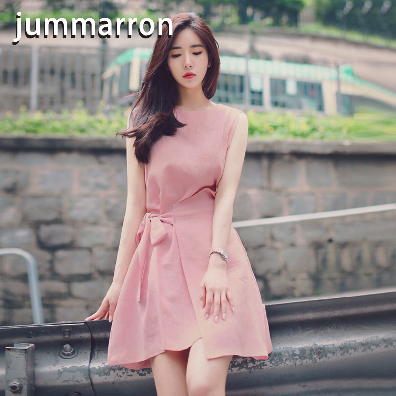 jummarron 2020 summer new Korean sweet irregular lace up solid loose round neck sleeveless A-line <font><b>dress</b></font> for women's <font><b>dresses</b></font> image