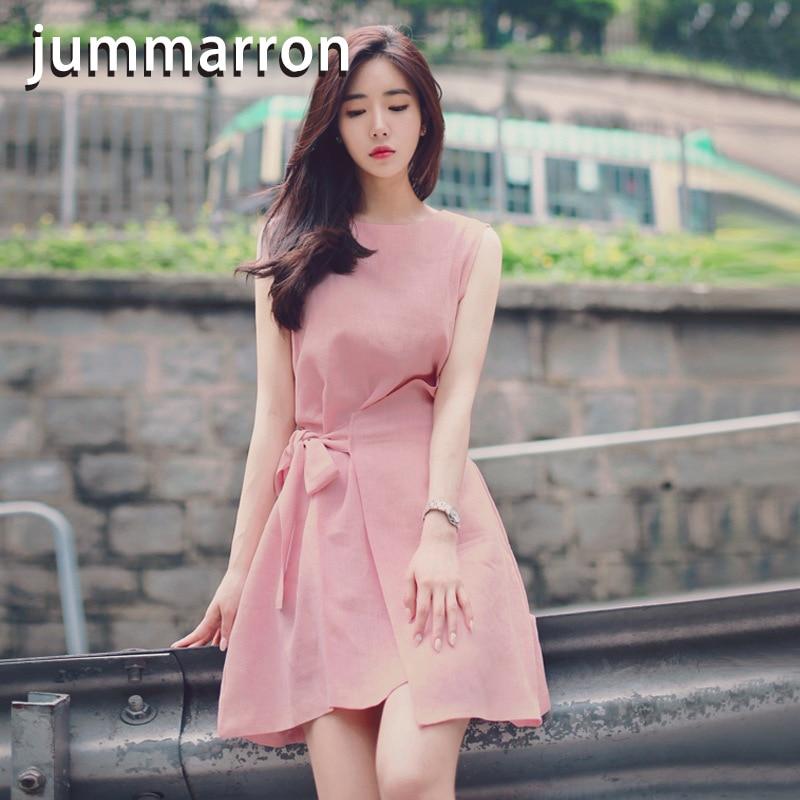 Jummarron 2020 Summer New Korean Sweet Irregular Lace Up Solid Loose Round Neck Sleeveless A-line Dress For Women's Dresses