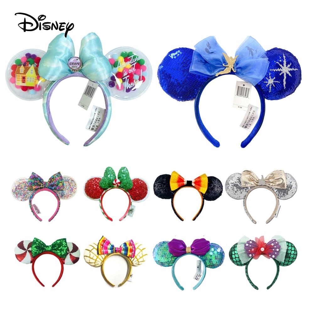 2021 Disney Mickey Ears Headband  Sequin Bows EARS COSTUME Headband  Peter Pan Headdress Cosplay Plush Adult/Kids Headband Gift