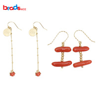 Beadsnice Gold Filled Red Coral Drop Earring Hook Fine Jewelry for Women Dangle Earring Dainty Jewelry 39738