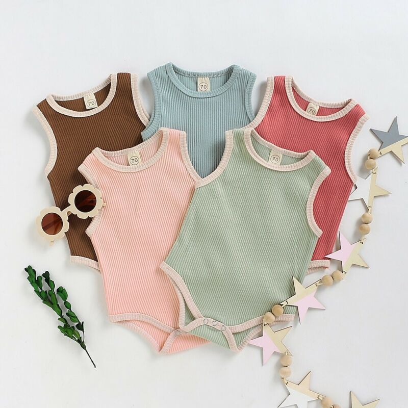 US Toddler  Baby Boy Girl Clothes Sleeveless Romper Jumpsuit Bodysuit 1Pc Outfit