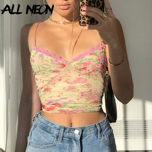 ALLNeon E-Girl 90s Flowers Spaghetti Strap Lace Trim Mesh Camis Top Vintage Skinny V-neck Summer Backless Floral Crop Tops Sweet