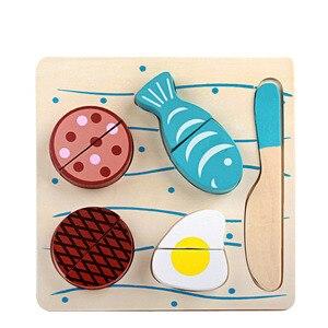QWZ Holz Küche Geschnitten Obst Gemüse Dessert Kinder Kochen Küche Spielzeug Lebensmittel Täuschen Spielen Puzzle Pädagogisches Spielzeug
