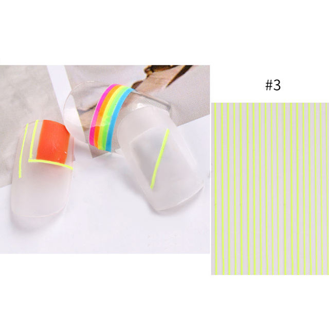 1 Sheet Fluorescent Mixed Colors 3D Nail Stickers
