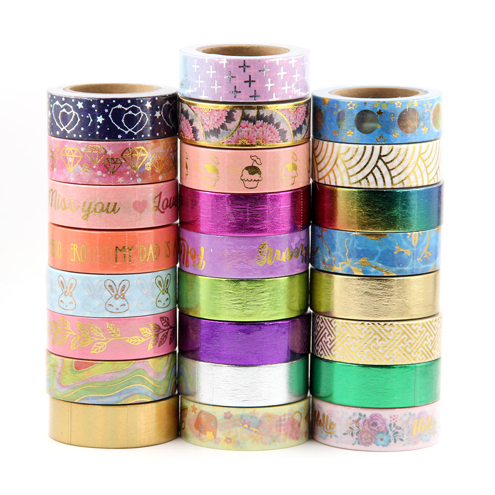 G151-G175 New 1X Colorful Floral Foil Washi Tape Hand Tear Decorative DIY Paper Tape Single Sided Adheisve Craft Washi Tape