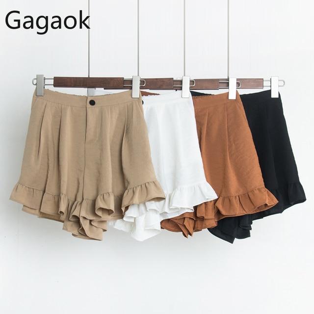 Gagaok Women Sweet Spring Autumn New Solid High Loose Students Casual Wild Simple Harajuku Female Fashion Korean Shorts 1