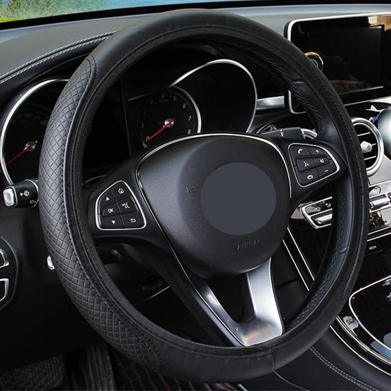 Image 2 - 新しい車のステアリングホイールカバー人工皮革弾性スリップ防止機能付き自動ステアリング輪エンボス革車のスタイリング -    グループ上の 自動車