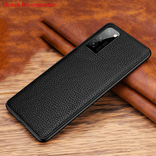 Slim Genuine Leather & Silicone Case For Honor V30 Pro Vintage Shockproof Phone Back Case Cover Huawei Honor View 30 Pro Cases