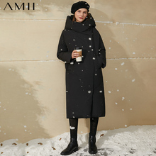 Women's Jacket Amii Coat Hooded Female Winter 95%White-Duck-Down Solid Thick Minimalism