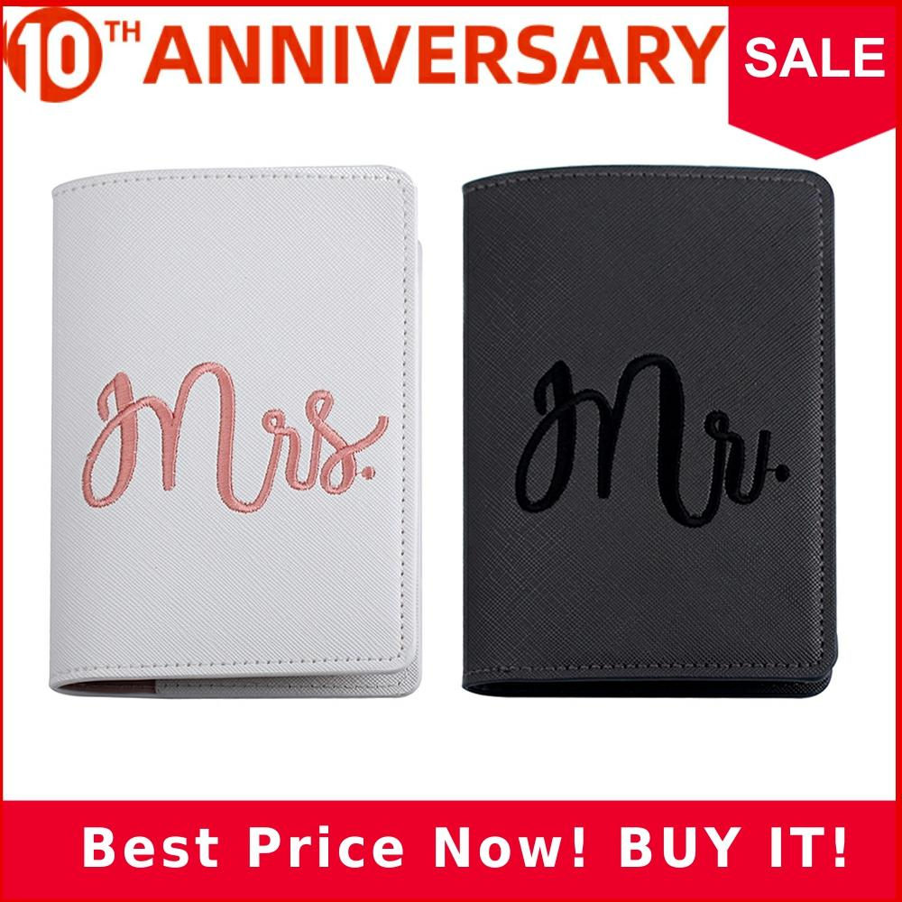 Zoukane Mr Mrs Lover Couple Passport Cover Embroidery Letter Women Men Travel Wedding Passport Cover Holder Travel Case CH17