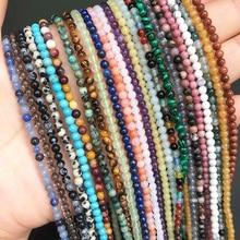 2 3 4mm Natural Agates Labradorite Quartz Amazonite Crystal Stone Beads Round Loose Beads For Jewelry Making DIY Bracelet 15''