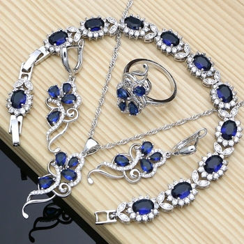 Silver 925 Bridal Jewelry Set Blue Sapphire White Crystal Costume for Women Stones Leaves Twig Earrings Ring Necklace Set wedding bridal pearl jewelry set women fashion crystal leaf pendant necklace earrings set