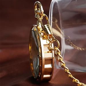 Image 2 - Механические карманные часы скелетоны, прозрачные винтажные наручные часы с открытым лицом, с карманной цепочкой, подарок на день рождения