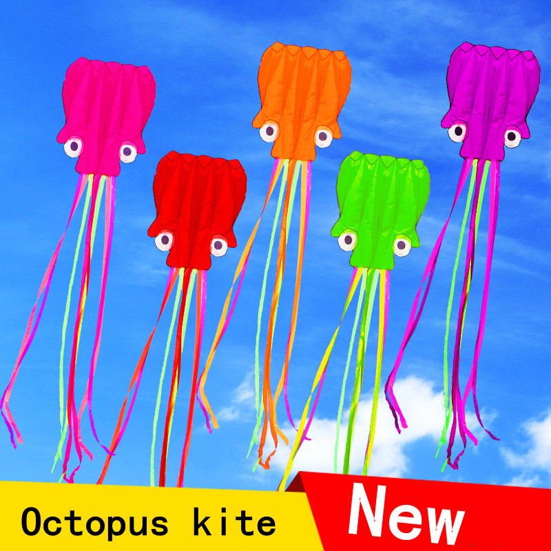 3D 4M Octopus Kite Single Line Stunt /Software Power Sport Flying Kite Outdoor Easy To Fly Kids Fun Toys Gifts Four Colors