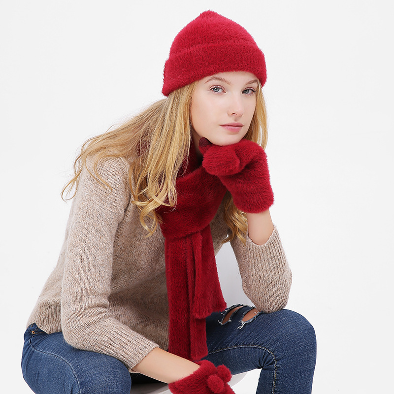 Corduroy Winter Hat And Scarf Glove Set For Women Classic Thicken Wool Kitted Hats And Scarves Winter Warm Bonnet Beanie Caps