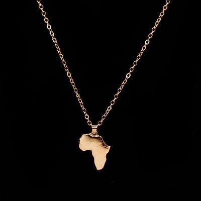 Классические африканские карты ожерелье и кулон для женщин и мужчин ожерелье Золото Серебро Цвет колье Африке Ювелирные изделия - Окраска металла: Gold