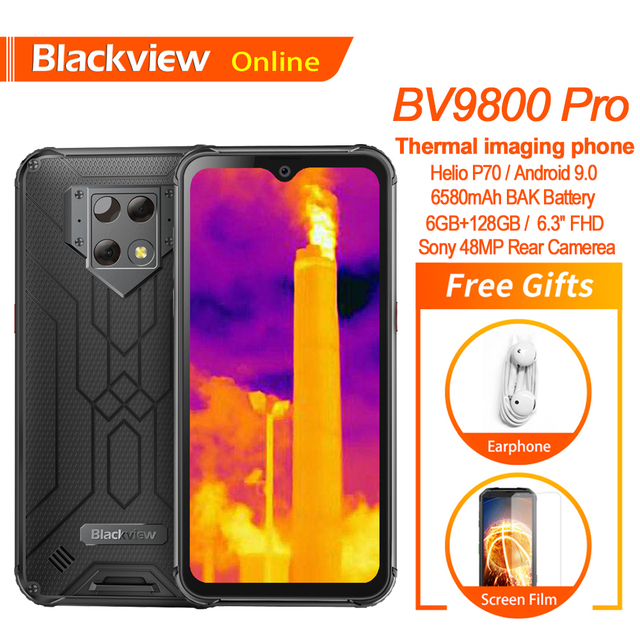 Blackview BV9800 Pro küresel ilk termal görüntüleme Smartphone Helio P70 6GB + 128GB 6580mAh IP68 su geçirmez 48MP cep telefonu