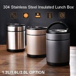 Duża pojemność Bento pudełko na lunch 3 warstwy pojemnik na jedzenie wiadro pudełko na lunch ze stali nierdzewnej izolowany termiczny stołowe obiadowy 1.2/1.6/2.0L w Pudełka śniadaniowe od Dom i ogród na