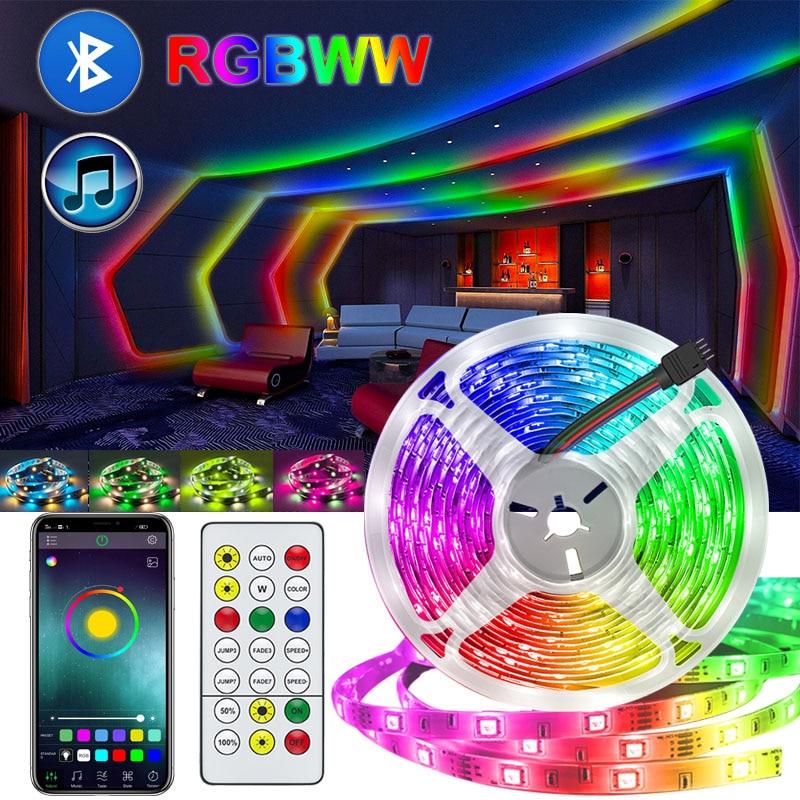 Bluetooth RGB Светодиодные ленты Рубан огни белый приложение Управление RGBWW светодиодные часы с неоновой подсветкой 5 м светодиодные лампы Диод г...