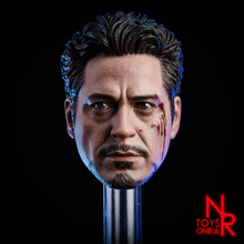 цена на New 1:6 Scale Male Head Sculpt MK5 Tony 2.0 Head Carved Model Toys Normal/Damaged Version fit 12 Action Figure for Collection