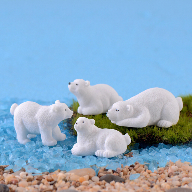 Modern nordic lovelyIns mini style polar bear home decoration living room accessories miniature fairy garden  resin figurine 2