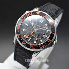 41mm bliger black dial GMT hand luminous marks ceramic bezel sapphire glass date automatic mens watch