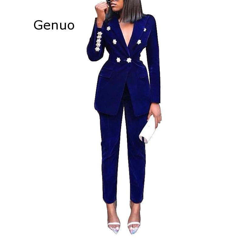 Summer Sets for Women 2020 New Navy Blue V Neck Long Sleeve Sexy 2 Piece Set Outfits High Quality Two Piece Set Suit