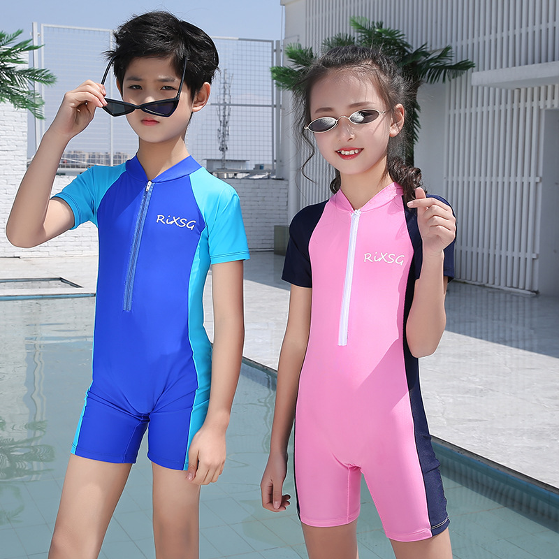 Children Diving Suit Sun-resistant Swimsuit CHILDREN'S Surf Clothes One-piece Short Sleeve Quick-Dry Big Boy Jellyfish Clothing