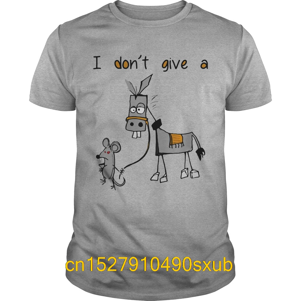 Men Printing Short Sleeve Tshirt trend I don't give a mouse walking a donkey shirt