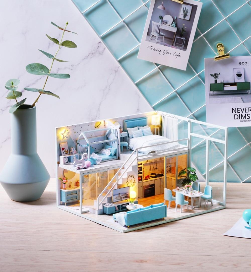 casa de bonecas luz para bonecas brinquedos artesanais para crianças # e