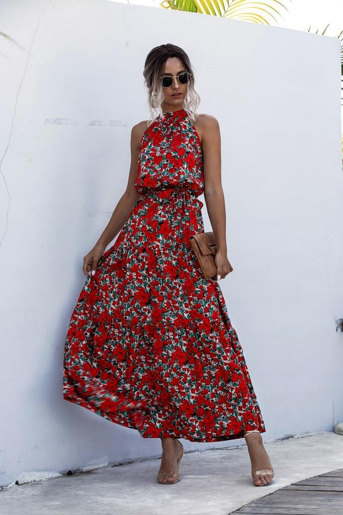 Summer Elegant  beach Women Dress  2020 long Print Flowers Polka-dot strap Ladies Halter boho Dress Vintage party ladies Dress 11