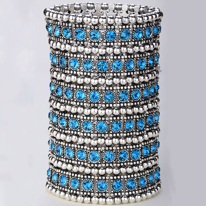Multilayer stretch cuff bracelet women crystal wedding bridal fashion jewelry gifts for women her wife mom B14 6 row dropship