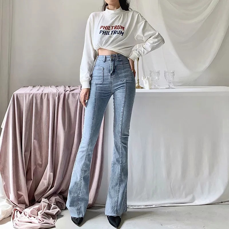 Autumn and winter new European and American style high waist stretch horn jeans women, Slim long legs solid color jeans women