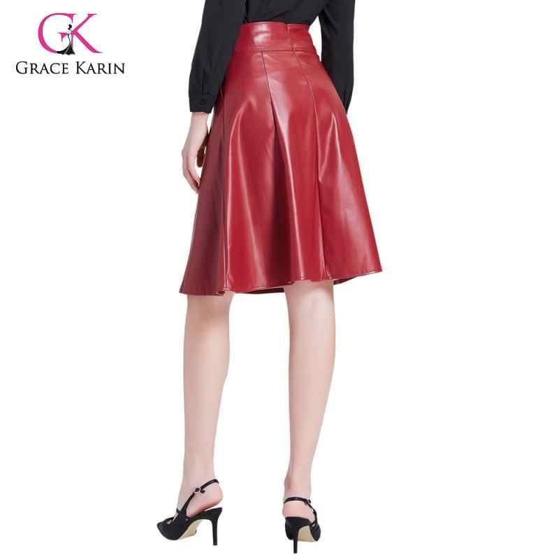 Gnade Karin PU Leder Schaukel Rock Mit Tasche Frauen Vintage Ausgestellte A-linie Rock Casual Hohe Taille Faux Leder Midi Röcke 2020