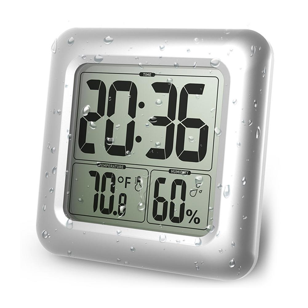 LCD Waterproof Digital Bathroom Wall Clock Thermometer Hygrometer Sensor Washing Shower Wall Clock Timer With Suction Cup