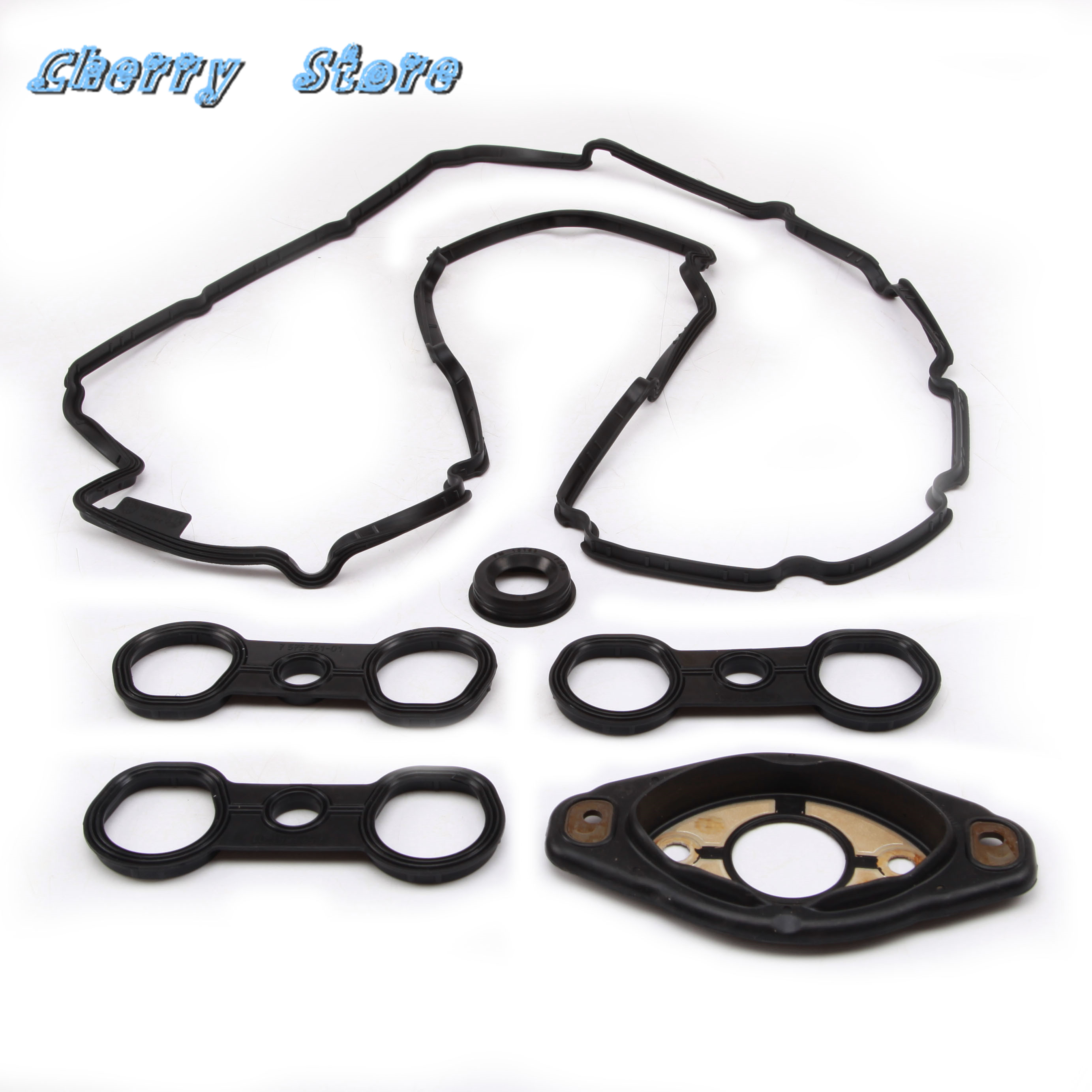 New 11 12 7 582 245 Valve Cover Gasket Set Genuine For BMW 128i 328i 528i xDrive 528xi X3 3.0si Z4 3.0i 11127559699 <font><b>11127552280</b></font> image