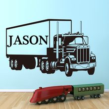 Large Custom Name Truck Wall Sticker Boy Room Bedroom Personalized Name Lorry Van Wall Decal Art Home Decor Room Vinyl PVC 3041
