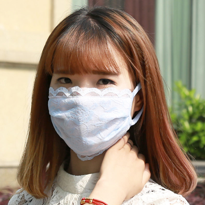 Spring Summer Lace Anti-Dust Face Mask  Breathable Women Lace Cotton Mouth Mask Cycling Washable Reusable Anti-pollution Mask