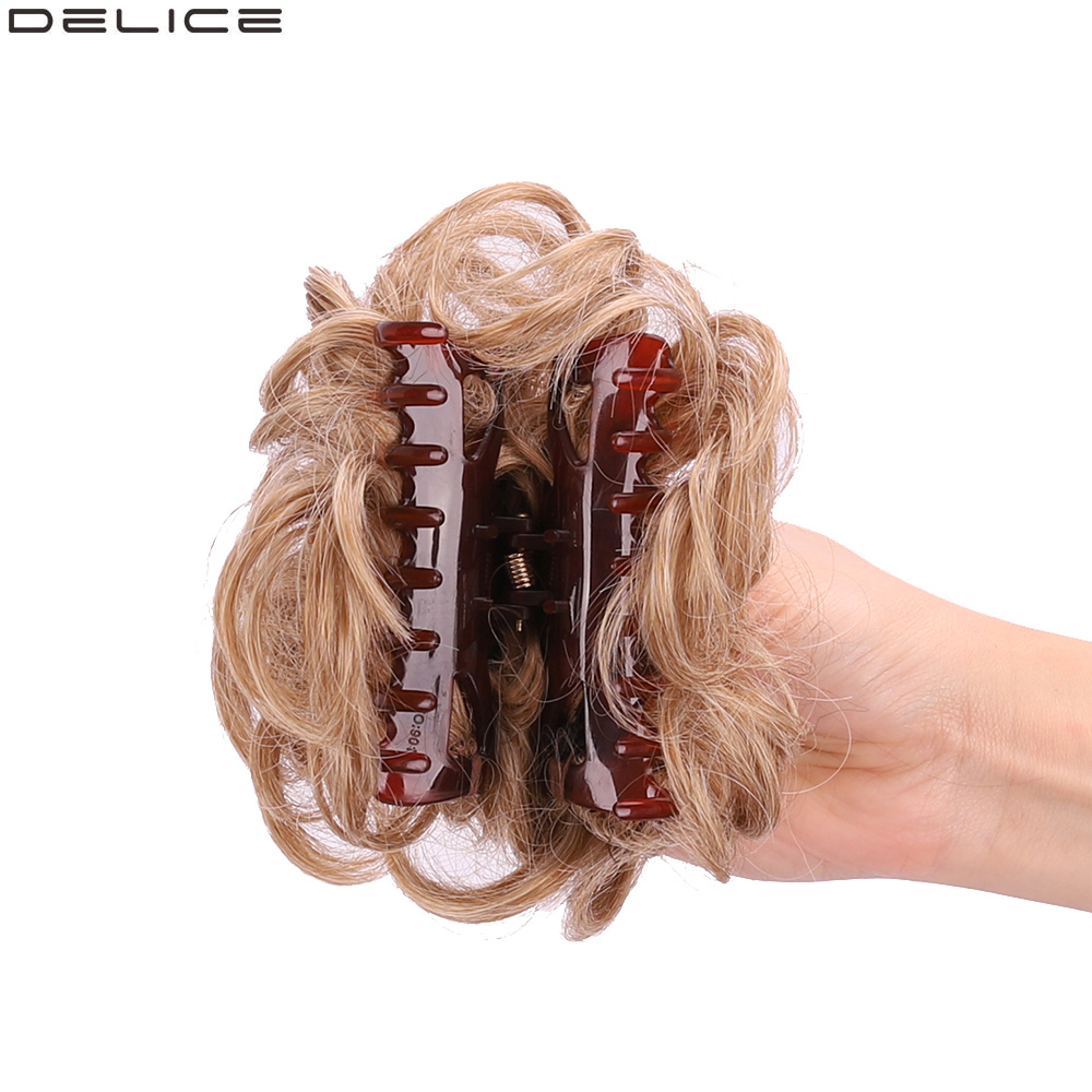Delice Women's Synthetic Curly Chignon Ombre Claw Hair Buns  Updo Cover Hairpieces