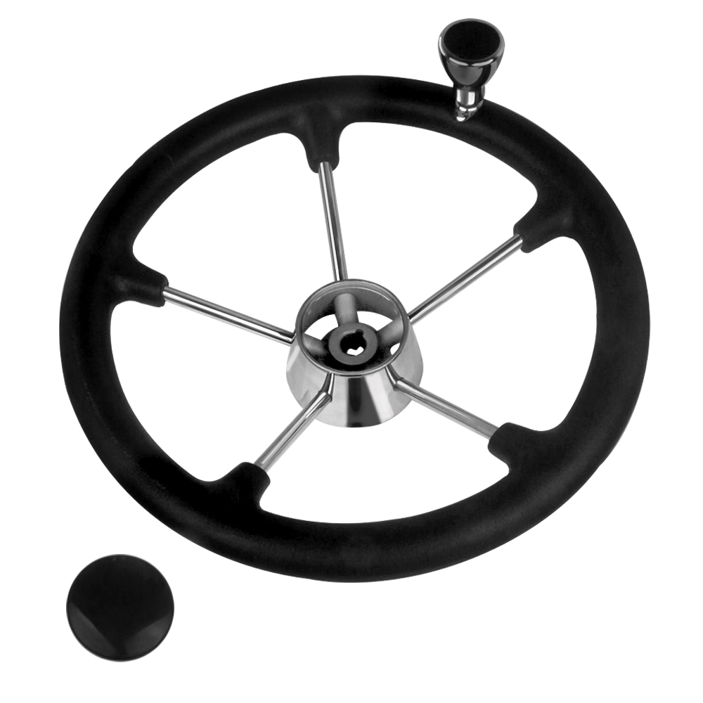 Boat Accessories Marine 13-1/2 Inch Stainless Steel  5 Spoke Destroyer Steering Wheel With Black Foam Grip And Knob